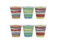 Confezione da 6 Bicchieri Acqua bibita CocktailCerve Caraibi in Vetro con Decoro Multicolore 25cl