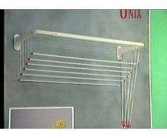 Gimi Unix Stendibiancheria da Parete e Soffitto in Alluminio e Resina, 10 m Stendibili