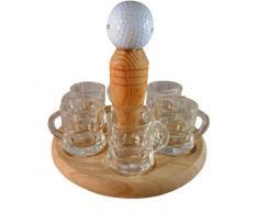 Golf Trink rotonde, Golf Grappa rotonda, Golf regalo con 6 bicchieri da liquore