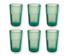 Cartaffini - Bicchiere Cocktail in policarbonato - Set 6 Pezzi. capacità 48 cl, Forma Ottagonale - Colore: Verde