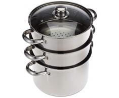 Kitchen Craft KCCVSTEAM22 Pentola a pressione e due inserti vapore profonde, acciaio INOX, 22 cm