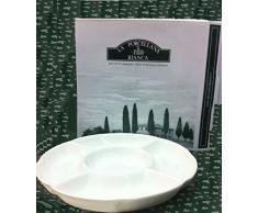 la Porcellana Convivio Piatto da Portata Rotondo 5Â Parti cm 25,5Â in Confezione Regalo, Bianco
