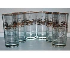 Vetro / Bicchieri / Retro / Vintage / anni 80 / 6 x 0,2 litri / scritta dorata / Coca-Cola