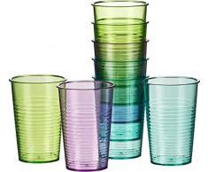 JUSTSHOPPING set di 12 bicchieri in plastica forte, bicchieri tumbler per drink,acqua,vino,birra,succo,coca cola, bicchiere da 200ml ideale per picnic, barbecue, piscina, campeggio,mare,campagna feste per bambini e per uso quotidiano,