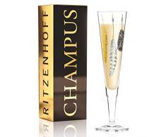 RITZENHOFF Champus - Bicchiere da champagne, in cristallo, nero, oro, platino, 7 cm