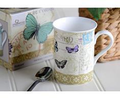 Creative Tops - Tazza in porcellana fine, stile vintage, fantasia: cartolina con farfalle