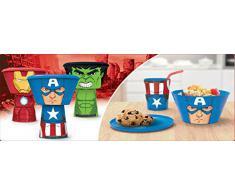 Marvel Avengers - Set Colazione Impilabile 3Pz - Bicchiere, Ciotola E Piattino - novità Prodotto Originale [Iron Man]