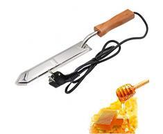 PROBEEALLYU, coltello elettrico per miele, estrattore per riscaldamento del miele, raschietto con manico in legno, cucchiaio da zuppa regalo per miele (spina europea)