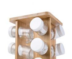 Portaspezie - Girevole, Rotante, in Bambù, con 16 Barattoli, 14 x 24.5 x 14 cm - Espositore, Supporto, Organizzatore Spezie da Cucina