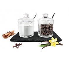 2 porta spezie su ardesia con cucchiaio Parmigiano lattine marmellata barattoli set Miele contenitore barattolo zucchero sale contenitore