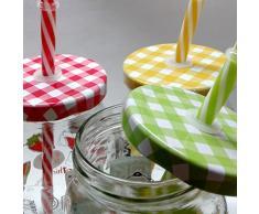 Confezione da 6pz Bicchiere vaso barattolo e tappo 43 cl + 6 cannuccia per cocktail bibite bevande succhi