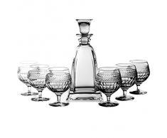 Crystaljulia 2380 – Bicchieri Cognac bicchieri Set, 7 pezzi, 1 x caraffa 0,75 l, 6 x bicchieri 350 ml, Piombo cristallo, modern, trasparente