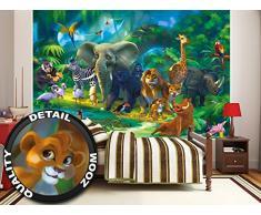 Animali della giungla FOTOMURALE - safari quadro da parete - XXL giungla decorazione da parete - tappezzeria da parete cameretta dei bambini 210 cm x 140 cm