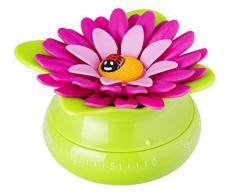 Vigar 7021 Flower Power - Timer da cucina, in plastica, 6 x 6 x 6 cm, colore verde