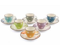Villa d'Este Home Tivoli Margarita Set 6 Tazzine caffè con Piattino, Ceramica,, 12 unità