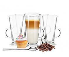 Sendez, 6 bicchieri da latte macchiato e 6 cucchiai in acciaio inox, biccheri da caffè, bicchieri da tè