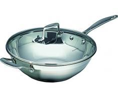 Scanpan - Padella wok in acciaio inossidabile, con coperchio, diametro: 32 cm