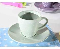 Ideapiu 12 Tazzina in Ceramica Colorata a Pois con piattino