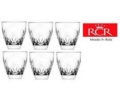Rcr Crystal Fior Di Loto-Set Di 6 bicchieri in cristallo da whisky %2F Bicchiere per acqua