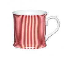 Kitchen Craft - Tazza mug in porcellana con motivo a righe, 400 ml, colore: rosso
