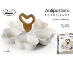 Gicos Antipastiera in Porcellana 5 Ciotole Cuore con Manico in Legno IPP-700569