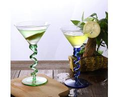 7°MR Bicchiere di Vino Calice for Bicchieri Margarita Martini in Cristallo Senza Piombo con Flute da Cocktail Creativo 2PCS