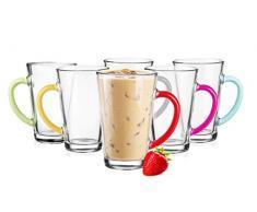 6 bicchieri da Latte Macchiato caffè bicchieri 300 ml con manici colorati 6 cucchiai (gratis)