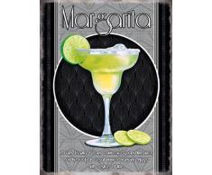 Margarita Bicchiere Da Cocktail e ricetta. Alcol, lime, ice, classico drink. Metallo/Targa Da Parete In Acciaio - 15 x 20 cm