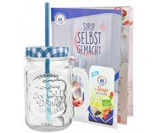 In vetro con coperchio e cannuccia con ricetta l'impugnatura - a quadri bianchi e blu - 0,5 litro Tazza/Bicchiere con rilievo - per succhi, frullati e altre bevande per rinfrescarsi