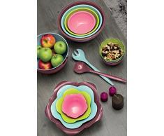 ZAK Designs M830-2227-Set di 4 portauovo e 4 cucchiai per Uova, melamina, Colore: Castagna/Assortiti