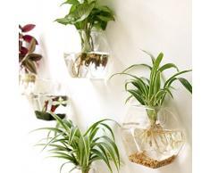 Mkouo, 2 vasi in vetro trasparente da appendere a parete per fiori e piante, forma esagonale