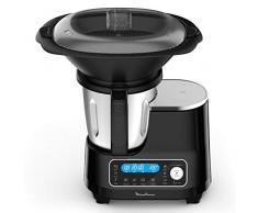 Moulinex HF4568K ClickChef, Robot da Cucina, Ricette pronte in 2 click, 5 programmi automatici e modalità manuale, 7 accessori, 3.6 L di capacità e ricettario incluso, Acciaio inossidabile, Nero