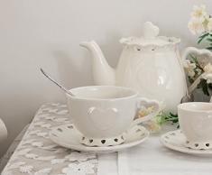 Tazza da tè con piattino cuore Shabby Chic Angelica Home & Country