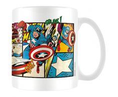 Pyramid International Marvel MG23437-Tazza in Ceramica con Strisce del Fumetto Captain America retrò, 8 x 11,5 x 9,5 cm, Colore: Multicolore, 8x11.5x9.5 cm
