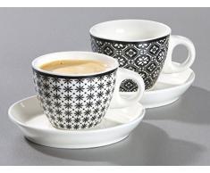 Ritzenhoff & Breker 083323 Set Tazze da caffè Maya, 6 pezzi, 300 ml, Porcellana, Bianco/Nero, Porcellana, Weiß und Schwarz, 19x14x18 cm