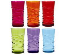 Quid 7069159 - Set di 6 bicchieri alti in vetro 34 cl, colore: multicolore