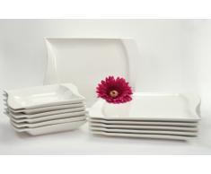"""Van Well - Servizio da tavola """"Harmony"""", 12 pezzi, piatti quadrati con bordi ricurvi, colore: Bianco"""