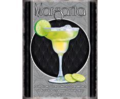 Margarita Bicchiere Da Cocktail e ricetta. Alcol, lime, ice, classico drink. Metallo/Targa Da Parete In Acciaio - 9 x 6.5 cm (calamita)