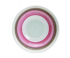 Quid 7065068 Relax Cas Color 2 - Servizio da 6 piatti fondi, in ceramica, 18,5 x 20,3 x 5,7 cm, colore: rosa/marrone