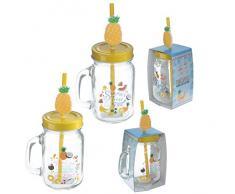 Bicchiere Barattolo smoothie in vetro ANANAS con tappo e cannuccia 1 A SCELTA
