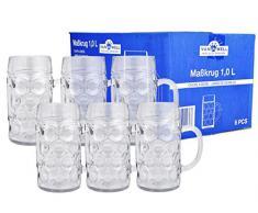 VAN WELL Set DI 6 dimensioni prozellan Wellco - 1 litro boccale di birra in vetro - calibrati
