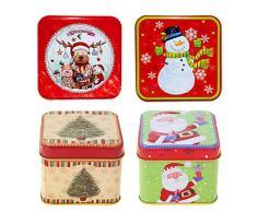Scatola di latta di Natale,4 pezzi scatola di caramelle di immagazzinaggio di latta di Natale quadrata da,scatola di imballaggio del regalo di cottura dei biscotti di Natale tema(stile casuale)