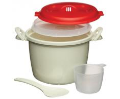 KitchenCraft, cuocino per riso a microonde, in plastica senza BPA, colore bianco rosso, 1,5 l