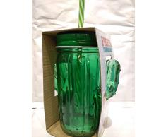 Cartoleria Varzi Dal 1956 Bicchiere Cactus Barattolo Vetro con Tappo e Cannuccia