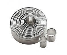 Paderno 47316-10 Tagliapasta ad anello - Set di 11 Coppapasta rotondi in acciaio inox, ideali in pasticceria e per impiattamenti creativi, 3 cm di altezza, diametro anelli da 2 cm ø a 9 cm ø