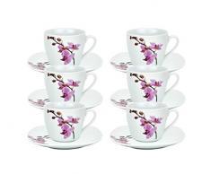 Van Well, set da caffè, motivo: orchidea di Kyoto 6er Set Espressotasse + Untertasse