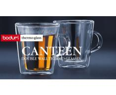 Bodum Canteen 2 Bicchieri termici a doppia parete in vetro, con manici, 192 ml