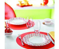 Luminarc 9211899 - Servizio da 6 piatti da dessert, Sixties Opale, 19 x 19 x 1,7 cm, colore: Rosso/Bianco