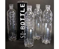 Bottiglie in vetro con design della bottiglia in plastica. Tappo con guarnizione in silicone
