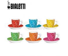 Bialetti Y0TZ012 Set Tazzine con Piattino, Porcellana, Multicolor, 6 unità